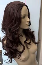 dark brown wavy curly 3/4 half head long hair wig on half cap fancy dress new
