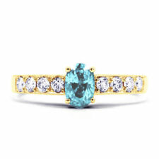 Aquamarine Solitaire with Accents Yellow Fine Rings