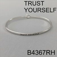 Silver Finish TRUST YOURSELF Message Engraved Brass Simple Bangle Bracelet
