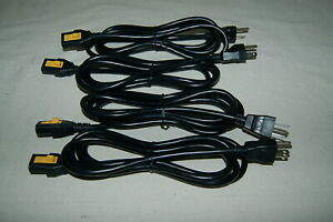 LOT of 4 Locking 6' Power Cable Cord Fits NAME BRAND Powered Speakers