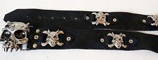 APE belt buckle devil skull PUNK 1980s glam heavy metal death gothic LEATHER vtg