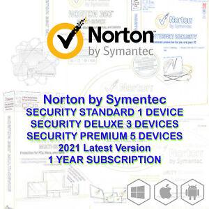 Norton Internet Security STANDARD DELUXE PREMIUM 2021 1 3 5 Devices Windows Mac