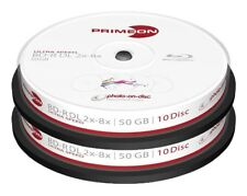 20 Primeon 2761312 Printable Blank Blu Ray DL BDR Discs 50GB 2x - 8x Ultra Speed