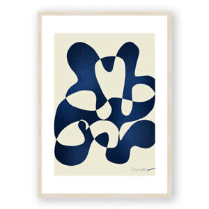 Abstract Framed Print , Cubism Style Wall Art , Minimalist Modern Illustration