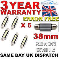 5 X 38MM 3 SMD LED 239 272 C5W CANBUS NO ERROR INTERIOR LIGHT FESTOON BULB WHITE