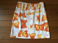 Tocca Brand Butterfly Orange White Skirt Size 8 Straight Pencil Short Medium