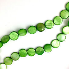 16'' Dyed Green Shell 14mm Coin Beads