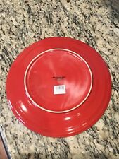 "NEW RACHEL RAY Double Ridge RED Dinner Plate 11""/Rachel Ray Plates Set of 2"