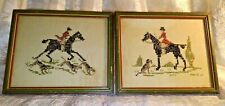 Pair Antique Cross Stitch Race Horse Hunting Dogs Jockey Framed Picture Handmade