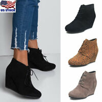 Women Casual Round Toe Shoes Winter Lace Up Wedge Heel Ankle Boots Shoes Size US