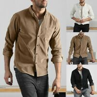 Mens Autumn Casual Solid Color Corduroy Pocket Long Sleeves Button-UP Shirt Tops