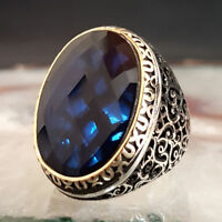 HEAVY Turkish 925 Sterling Silver blue sapphire stone Mens Mans ring ALL SİZE us