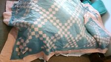 Handcrafted twin quilt and ruffle set. pinks &greens
