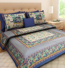Indian Jaipuri King Size Cotton Bed Sheet Diwali Home Decor Bedding Set 3pcs