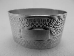HM Silver Oval Napkin Ring (572a) Birm 1922 James Swann - Not Engraved - heavy