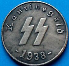 1938 German Third Reich Deutsche 1 Schilling Kantinegeld Kampft Weiter WWII Coin