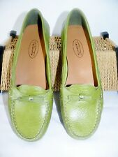 Talbots Lime Green Pebbled Leather Loafers Flats Bow Womens Shoes Size 7 B