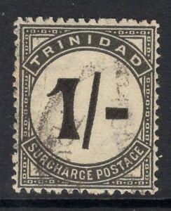 "TRINIDAD SGD25a 1945 1/- BLACK ""UPRIGHT STROKE"" POSTAGE DUE FINE USED"