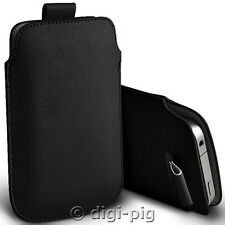 BLACK (PU) LEATHER PULL TAB POUCH CASE FOR VODAFONE SMART 4 MINI MOBILES