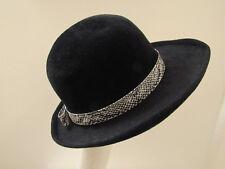 Marcelle Original Model Hat Turned Up Brim Black Velour Church Dress