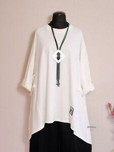 Italy Moda° Lagenlook Zipfel Shirt Tunika A-Linie Bänder ~ Creme Weiß ~ one size