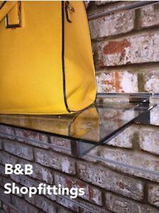 TOUGHENED GLASS SLATWALL SHELF 600 MM retail shop display INC CHROME BRACKETS!!