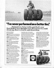 1972 Shell Oil Company Car Tire Print Ad with Stunt Driver Carey Loftin