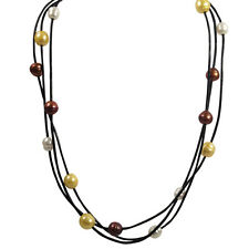 18 inch White & Gold Freshwater Pearls Leather multi strand necklace