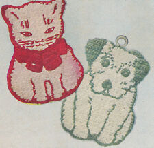 Vintage Crochet PATTERN to make Pot Holder Cat Dog Kitten Puppy Kitty Novelty