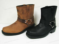 "Men's Harness Boots Motorcycle Biker 6"" Leather Riding, Black, Brown Sizes:6-13"