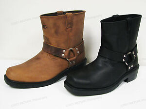 """Brand New  Men's Harness Boots Motorcycle Biker 6"""" Leather Riding, Black, Brown"""