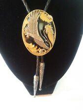 Black Enamel Soaring Eagle Bolo Tie 1996 Siskiyou Buckle Co Pewter &