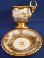 Antique 19thC Paris French Porcelain Scenic Cup & Saucer Porcelaine Tasse Vieux
