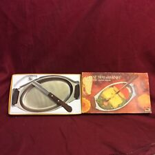 Vintage Stainless Steel Cheese Tray & Cheese Knife, Boxed