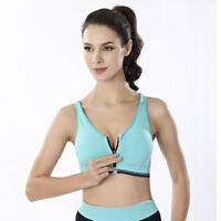 Sports Women Gym Shakeproof Underwear Fitness Zipper Bra Tank Tops Yoga Seamless