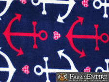 """Fleece Printed Fabric RED ANCHOR / 58"""" Wide / Sold by the yard S-662"""