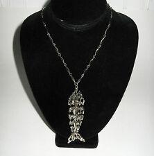 Vintage Tortolani Articulated Fish Pendant Dangle Necklace Antique Silver Finish