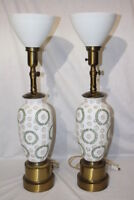 """Pair of Hand Painted Mid Century Hollywood Regency Satin Glass Lamps 31"""""""