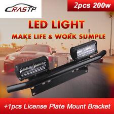 23'' Bull Bar Front Bumper License Plate Mount Bracket +2x200W LED Light Holder