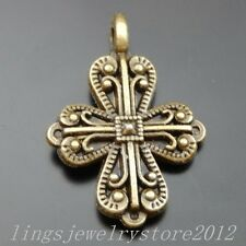 39880 Antiqued Bronze Tone Alloy Blessing Cross Pendant Charms Accessories 24pcs