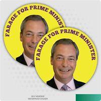 2 x Nigel Farage For Prime Minister Car/Van Sticker Leave European Union Brexit