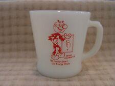 Fire-King Reddy Kilowatt Be Energy Smart Milk Glass Advertising Coffee Mug