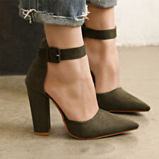 Women Block High Heel Ankle Strap Casual Ladies Summer Party Sandals Shoes Size