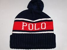 POLO RALPH LAUREN Men's Pom-Pom Beanie, USA, Skull Ski Cap Hat, NAVY BLUE, nwt