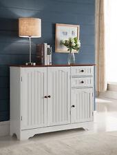 Kings Brand Furniture - Haber Kitchen Storage Buffet Cabinet, White / Walnut