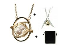 Parure Harry Potter Collier retourneur de temps + collier vif d'or argenté