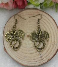 Gothic metal bronze dragon charm earrings