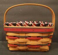 Longaberger 1997 Patriot Basket Fabric & Divided Plastic Liners Wood Handle