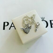 Pandora Silver Pavé Heart And Angel Wings Necklace size 45 (ALE S925)