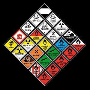 Hazchem Hazard Warning Stickers - 100x100mm - Gas, Explosive, ADR, Corrosive